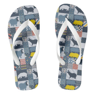 Faux-Quilted Hippo Jandals