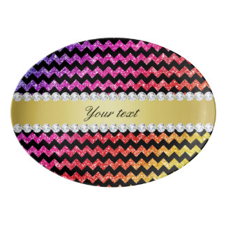 Faux Rainbow Neon Glitter Chevrons Diamonds Black Porcelain Serving Platter
