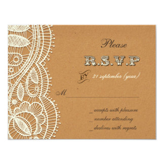 FAUX  recycle paper, ivory lace wedding rsvp Invitations