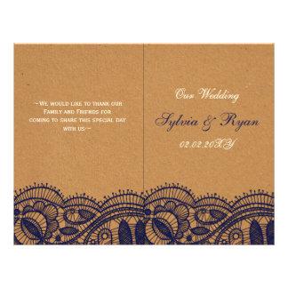Faux Recycle Paper, Lace wedding programs folded 21.5 Cm X 28 Cm Flyer