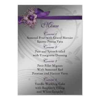 FAUX ribbon purple and silver wedding menu 13 Cm X 18 Cm Invitation Card