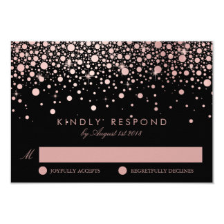 Faux Rose Gold Confetti Dots Black Wedding RSVP Card