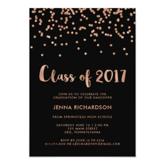 Faux Rose Gold Confetti Graduation Party | Black Card