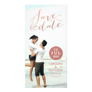 Faux Rose Gold Foil | Save the Date Photo Card