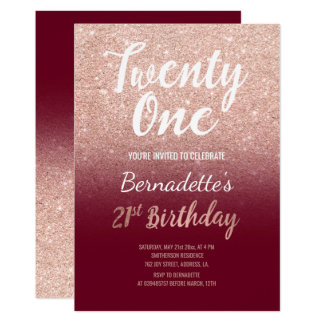 Faux rose gold glitter burgundy 21st Birthday Card
