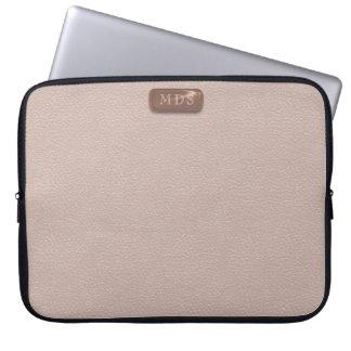 Faux Rose Gold Monogram Blush Pink Laptop Sleeve
