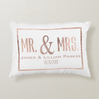 Faux Rose Gold Mr. and Mrs. Monogram Wedding Decorative Cushion