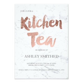 Faux rose gold script marble kitchen tea bridal 13 cm x 18 cm invitation card