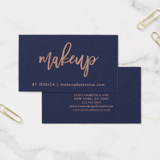 Faux Rose Gold Script on Midnight Blue | Makeup Business Card