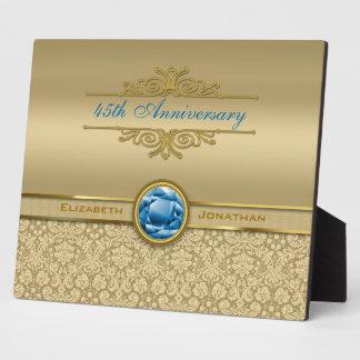 Faux Sapphire Blue Gemstone Metallic Gold Damask Plaque