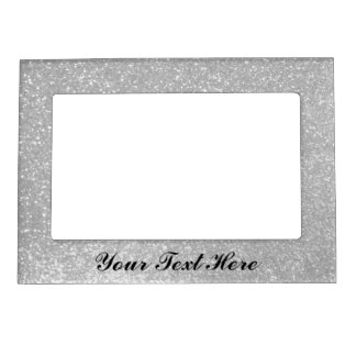 Faux silver glitter image picture frame magnet
