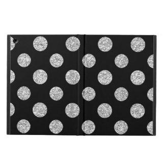 Faux Silver Glitter Polka Dots Pattern on Black iPad Air Cover