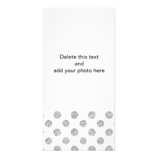Faux Silver Glitter Polka Dots Pattern on White Photo Cards