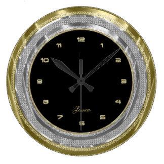 Faux Silver & Gold Border Custom Black Background Wallclock
