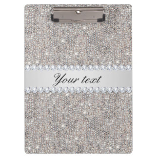 Faux Silver Sequins and Diamonds Clipboard