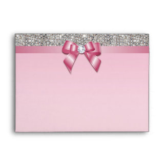 Faux Silver Sequins Diamonds Pinkl Bow