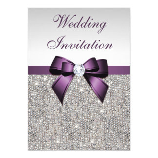 Faux Silver Sequins Diamonds Purple Bow Wedding