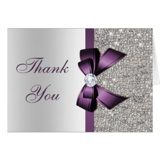 Faux Silver Sequins Purple Diamond Bow Thank You