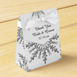 Faux Silver Snowflakes Winter Wedding Favor Box Favour Boxes