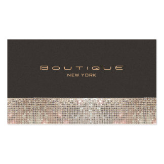 FAUX Sparkling Sequins and Suede Fashion Boutique Business Card Template
