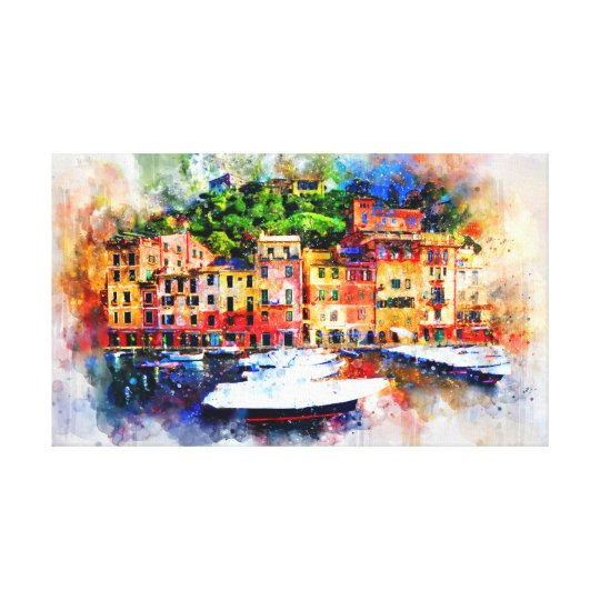 Faux Watercolor Painting of Buildings Canvas Print