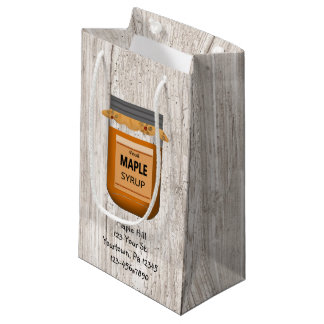 Faux White Wood Maple Syrup Bag