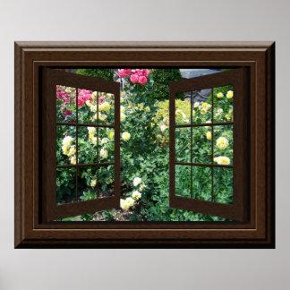 Faux Window Poster Peaceful Rose Garden Relaxing