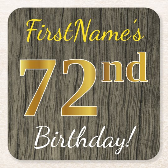 Faux Wood, Faux Gold 72nd Birthday + Custom Name Square Paper Coaster