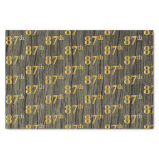 Faux Wood, Faux Gold 87th (Eighty-Seventh) Event Tissue Paper