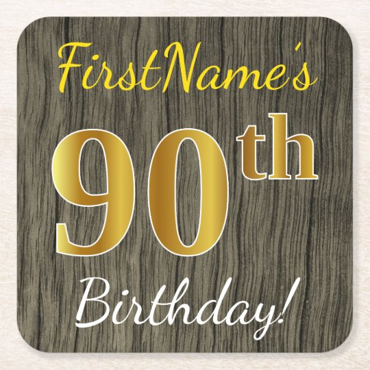 Faux Wood, Faux Gold 90th Birthday + Custom Name Square Paper Coaster