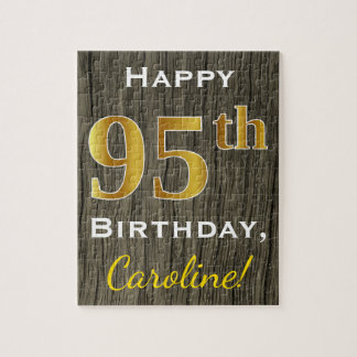 Faux Wood, Faux Gold 95th Birthday + Custom Name Jigsaw Puzzle