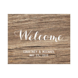 Faux wood wedding welcome sign rustic chic custom