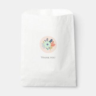 Favor bag with peach floral design