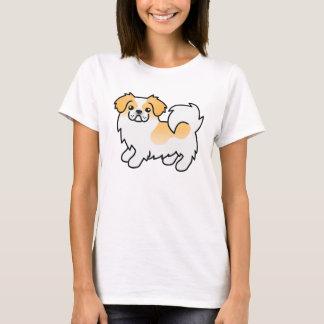 Fawn Parti-color Tibetan Spaniel Cartoon Dog T-Shirt