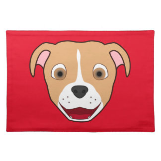Fawn Pitbull Face with White Blaze Placemat