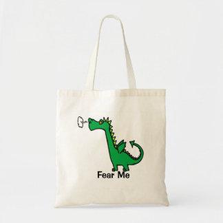 Fear Me Cartoon Dragon Budget Tote Bag