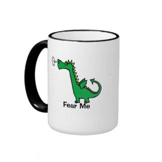 Fear Me Cartoon Dragon Ringer Mug
