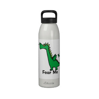 Fear Me Cartoon Dragon Reusable Water Bottle