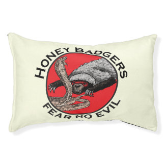Fear No Evil Honey Badger Funny Animal Red Design Pet Bed