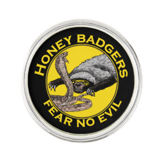 Fear No Evil Honey Badger Snake Animal Art Design Lapel Pin