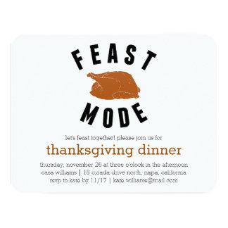 Feast Mode | Thanksgiving Turkey Dinner 11 Cm X 14 Cm Invitation Card