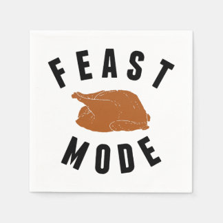Feast Mode   Thanksgiving Turkey Paper Napkin