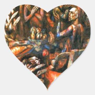 Feast of Kings by Pavel Filonov Heart Sticker