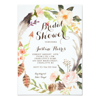 Feather Bridal Shower Invitation succulents,