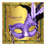 Feather Mask Purple and Gold Masquerade Party Personalised Invite
