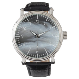 Feathered Black Agate cool natural stone Wristwatch