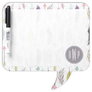 Feathers and Arrows Monogram Dry Erase Boards