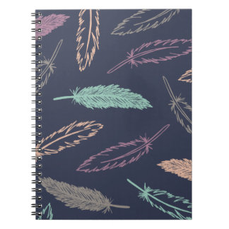 Feathers Falling Journal - Midnight Spiral Notebooks