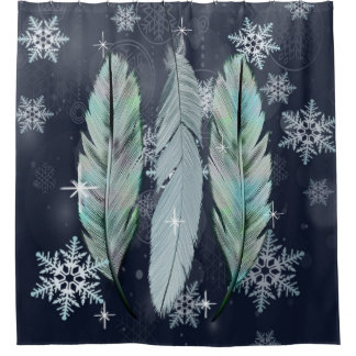 Feathers in the Winter Sky Shower Curtain