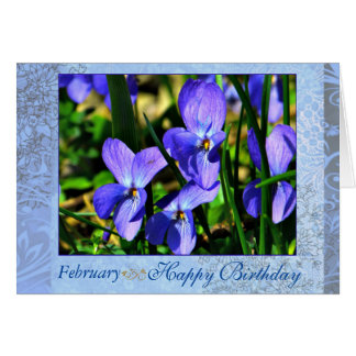 February Beautiful Blue Violets Birthday Card